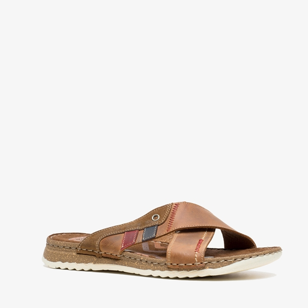 Output leren heren slippers 1