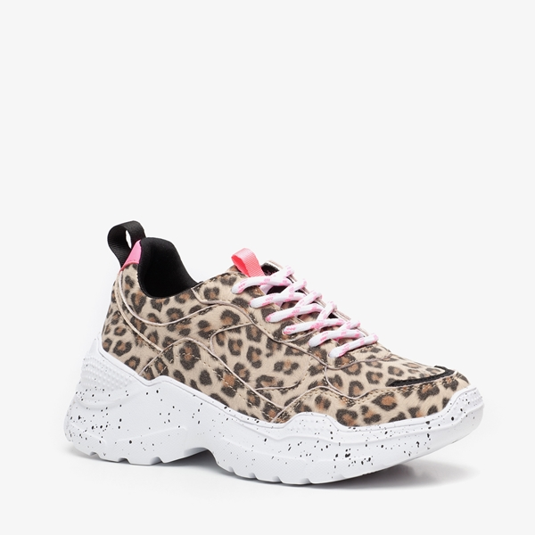 Blue Box meisjes dad sneakers met luipaardprint 1