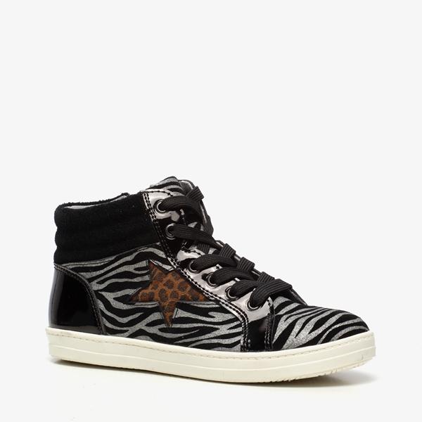 TwoDay leren meisjes sneakers met zebraprint 1