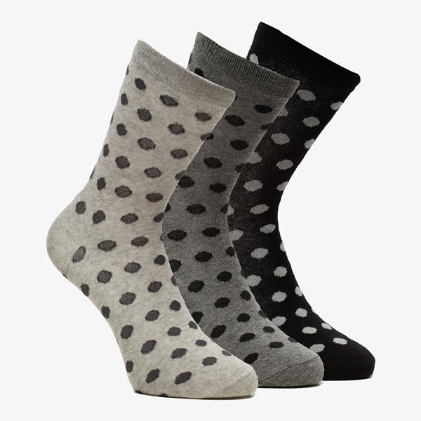 3 paar dames sokken met stipjes 1