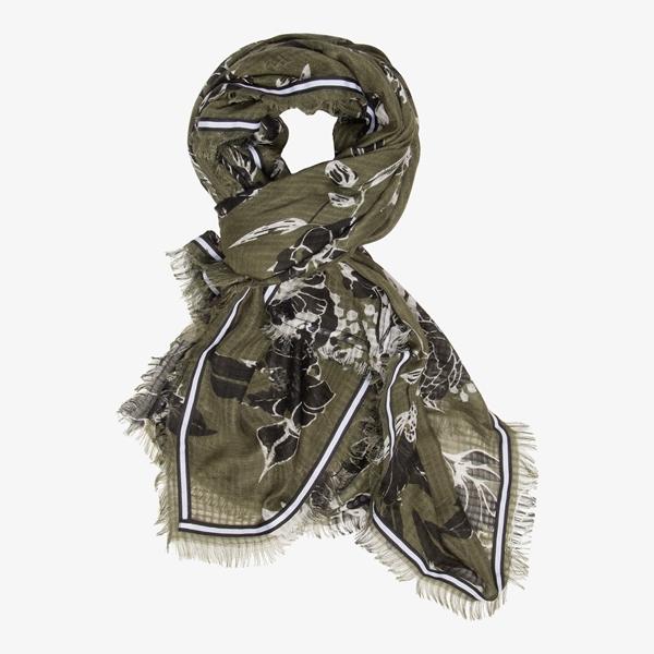 Groene dames sjaal met bloemenprint 1