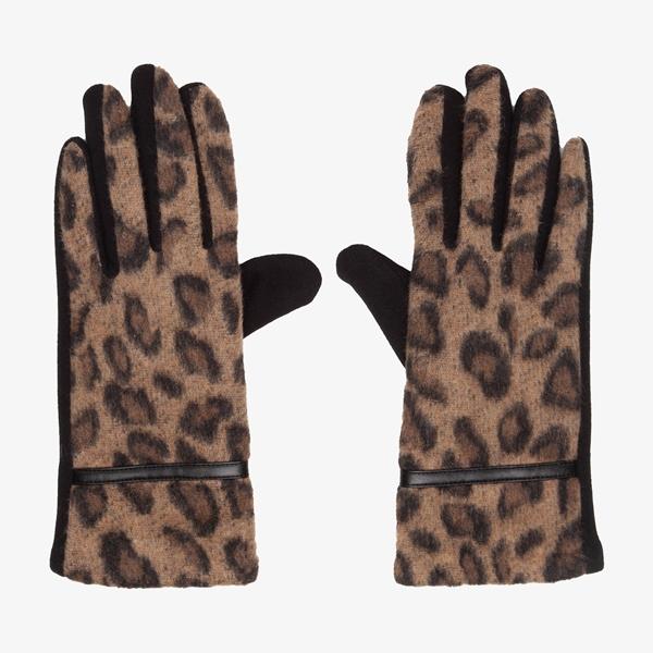 Dames handschoenen met luipaardprint 1
