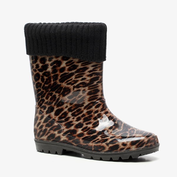 Gevoerde dames regenlaarzen met luipaardprint 1