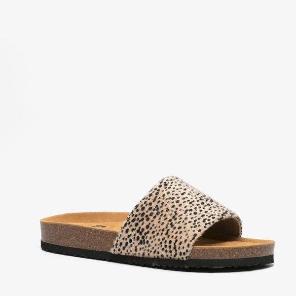 Dames bio slippers met cheetah print 1