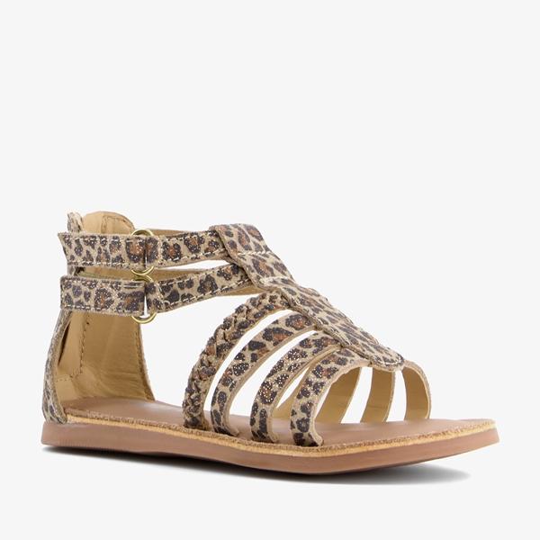 Groot leren meisjes sandalen luipaardprint 1